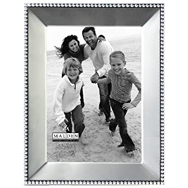 Malden International Designs Marquee Bead Satin Nickel Picture Frame, 5x7, Nickel