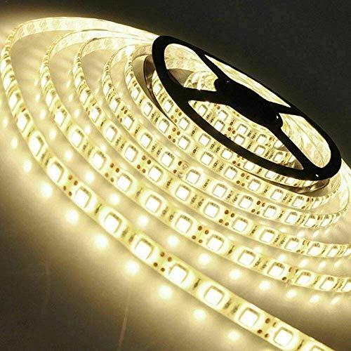 Arotelicht 24V LED Strip 300 LEDs 5M 5050SMD Band Leiste Streifen Lichterkette Stripe Lichtleiste Innen Deko Lichter, warmweiß, nicht wasserdicht IP20, 60LEDs/M