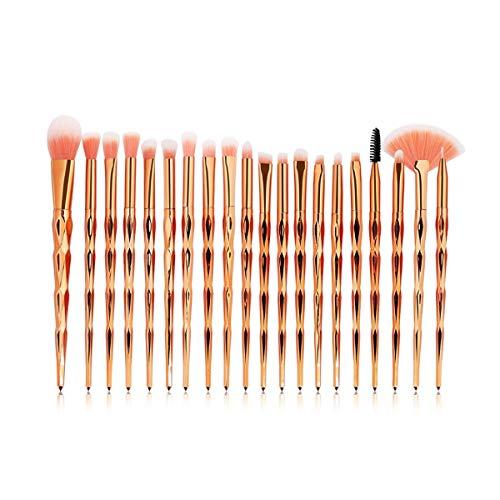 WEKDU Maquillage Pinceaux poudre Ombre à paupières Fondation Blend fard à joues lèvres cosmétiques Beauté douce Maquillage outil Pinceau, 20pcs / Kit (Couleur : Or rose, Size : One Size)