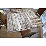 Rustic Polyester Fitted Tablecloth,Old Rustic Barn Door Cottage Country Cabin Theme Rural Mystic Entrance of Home Decorative Square Elastic Edge Fitted Table Cover,Fits Square Tables 48x48 Warm Taupe