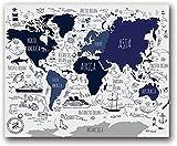 Stampe Su Tela,Blu Navy Mappa Del Mondo Nautico Poster Per Bambini Mappa Del Mondo Pittura Su Tela Stampe Su Parete Stanza Dei Ragazzi Decorazione Nautica-50X70 Cm X1