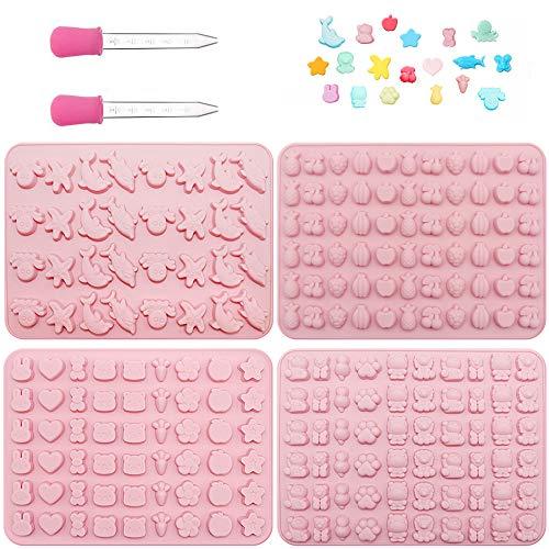 Silikon Süßigkeiten Formen Gummibärchen Formen Eiswürfelschalen Gelee Formen 4 Stück Pralinenformen Herz Obst Formen mit 2 Tropfer für DIY Weiche Süßigkeit, Gelee, Plätzchen, Schokolade