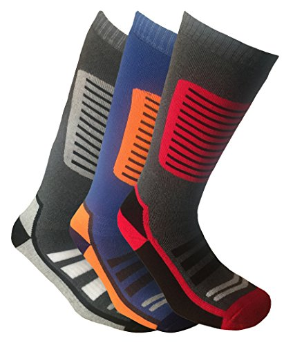 i-Smalls Herren 3er Pack Ski-Socken 39-45 (Schw/Gra) (Gra/Bla/Org) (Schw/Gra/Red)