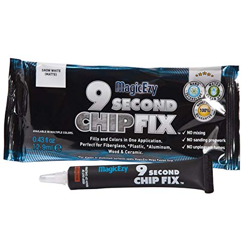 MagicEzy 9 Second Chip Fix - Professionally and Easily Touch-Up Cracks and Chips on Your Boat, Jet Ski, Yacht, Other Water Vehicles, and on Other Gelcoat and Fiberglass Surfaces - Matterhorn White
