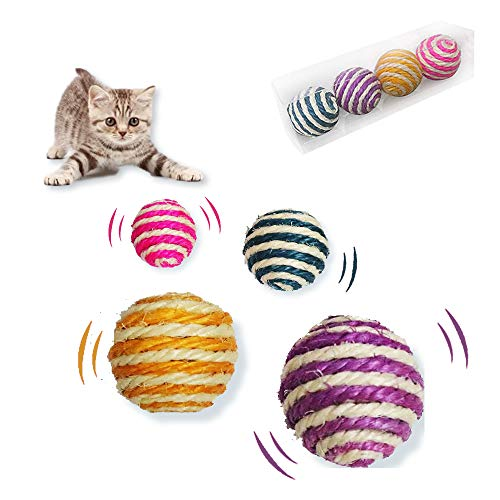 AOYE Bulk Pet Balls Interactive Yarn Cat Ball,Unique Handmade Natural, Perfect for Cat Lover, Craft Supplies 4-Count per Pack