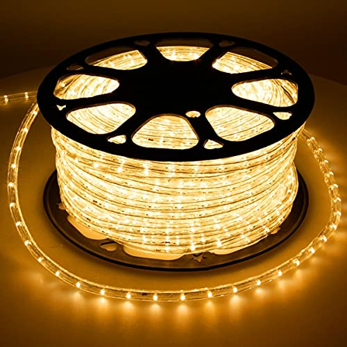 ECD Germany LED Tube lumière guirlande 50m jaune avec adaptateur protection IP44 36 lampes à LED par mètre non dimmable tension CA 220-240V décoration éclairage intérieure extérieure fête noël