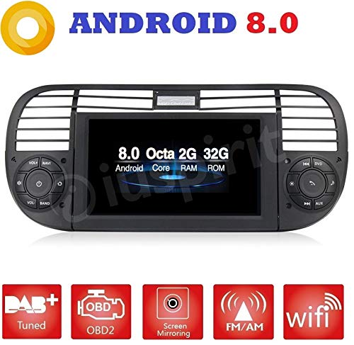 ANDROID 8.0 PX5 OCTA-CORE 2GB-RAM 32GB-ROM GPS DVD USB SD WI-FI Bluetooth MirrorLink autoradio navigatore Fiat 500 / Fiat Abarth 500 2007 2008 2009 2010 2011 2012 2013 2014 2015 color nero