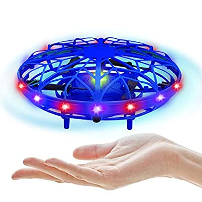 UTTORA UFO Mini Drone Toy, Hand Helicopter RC for Kids and Adults, Infrared Induction Flying Toy with Colorful LED Lights Gifts for Boys and Girls