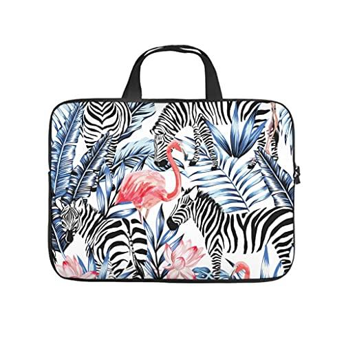 Funda para portátil con diseño de hoja de palma tropical de cebra y flamenco, de doble cara, de neopreno, resistente, para portátil, blanco, 12 pulgadas,