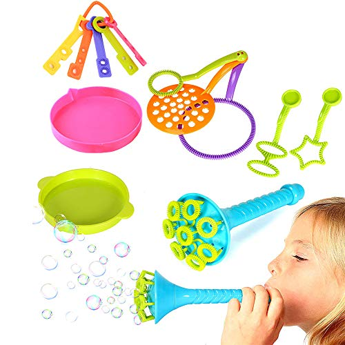 Amasawa 13 Piezas Burbujas de Jabón Kit de Varita de Burbujas Máquina de Burbujas Juguetes Bubbles para Juego de Fiesta Al Aire Libre Boda(No Incluye Líquido de Burbujas)