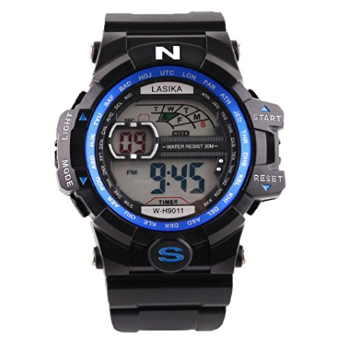 Hombre al aire libre impermeable de los deportes relojes militares Digital Display con brújula/alarma/cronómetro para estudiar, viajar, escalada, senderismo, color azul