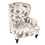 HUNOL Stretch Wingback Chair Cover, 2-Pieces Printed Wing Chair Cover Universal Washable Wingback Chair Slipcover Spandex Furniture Protector for Living Room Decoration-J-Wing Chair