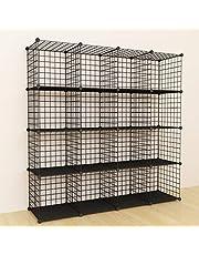 SIMPDIY 大容量 整理架 書架 鋼絲收納架 組裝式 衣物收納箱 方便 衣柜 - 黑色(16箱)