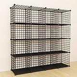 SIMPDIY Bookshelf Portable Storage 16 Cubes Black Wire Grid Wire Cube Storage Space-Saving Metal Organizer Wire Modular Shelf