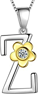 Initial A-Z 26 Letter Daisy Flower Necklace 925 Sterling Silver 18k Gold Plated Charm Alphabet Pendant Two-Tone Gold Plated Jewelry DP0141