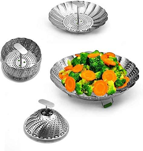 3D.Mr.Señor Vaporera Plegable de Acero Inoxidable, [Versión Última ] Utilizada para Cocinar Pescados y Mariscos Vegetarianos, Se Puede Ampliar para Adaptarse a Varios Tamaños de Ollas (14-23CM