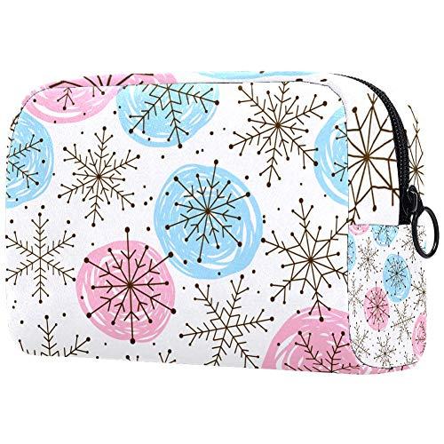 Trousse de toilette portable pour femme, sac à main, cosmétique, voyage et flocons de neige, décoration