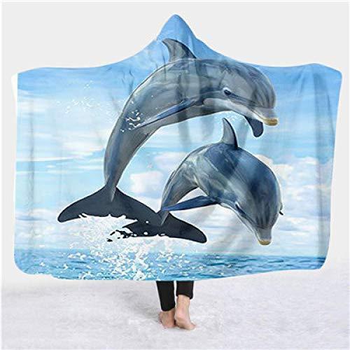 niawmwdt Fluffy schattige dolfijn deken, kleurrijk, met capuchon, 3D-print, volledig bedrukt, voor volwassenen en dames, stijl 1