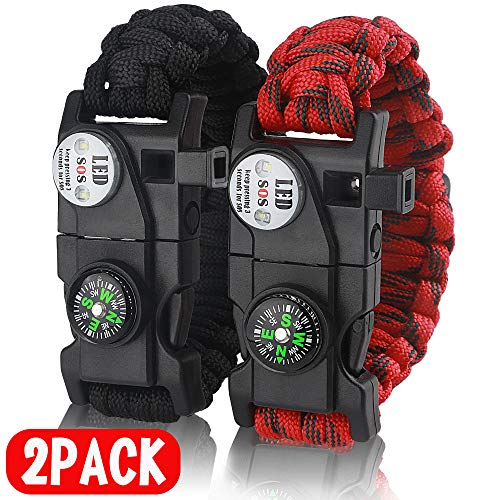 IMPHOM Survival Bracelet Paracord Military Bracelet Buckle Tool Adjustable Rope Accessories Kit, Fire Starter, Knife, Compass, LED Light,Whistle,for Fishing Hiking Travel Camp(2pcs) Black+Red …