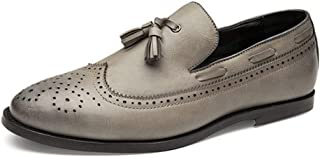 ZHANGLEI Brogue Oxford for Men Tassels Wedding Dress Shoes Slip on Microfiber Leather Rubber Sole Pointed Toe Anti-Slip Burnished Style (Color : Grey, Size : 8 UK)