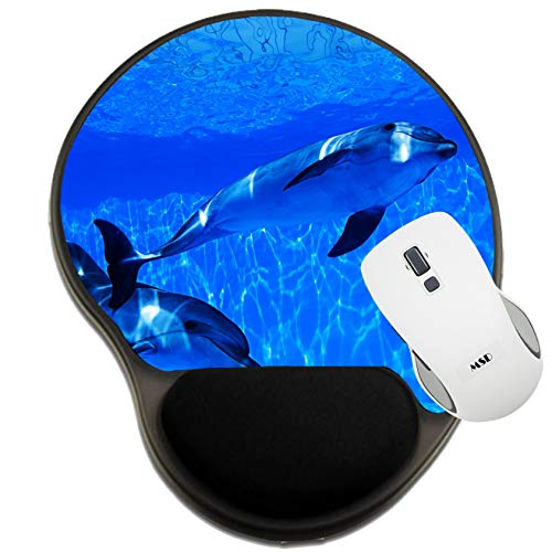 MSD Mousepad Wrist Rest Protected Mouse Pads, Mat with Wrist Support, Dolphins Swims Under The Water and Looking at The ca