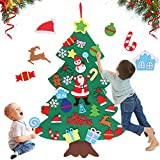 JOYUE Fieltro Árbol de Navidad, Árbol de Navidad de Fieltro DIY, los Ornamentos Desmontables 32pcs, Colgantes de la Pared para Las Decoraciones de la Navidad niños (100 x 70cm)