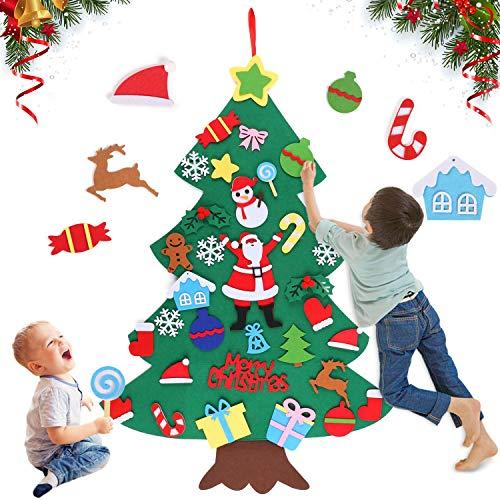 Huker Filz Weihnachtsbaum, DIY Weihnachtsbaum mit 32 Pcs Ornamente, Wand Dekor für Weihnachten, Weihnachtsspiel, Neujahr Tür Wandbehang Dekorationen (100 * 70cm)