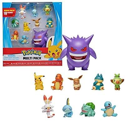 Pokémon Ultimate Battle Multi Pack de 10 Figuras de Acción - Gengar, Pikachu, Charmander, Squirtle, Bulbasaur, Eevee, Sobble, Grookey, Scorbunny und Munchlax - Detalles Auténticos Oficiales de Wicked Cool Toys