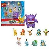 Pokémon Ultimate Battle Multi Pack de 10 Figuras de Acción - Gengar, Pikachu, Charmander, Squirtle, Bulbasaur, Eevee, Sobble, Grookey, Scorbunny und Munchlax - Detalles Auténticos Oficiales