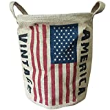 condello casa plegable redondo tejido yute tela de lino Vintage de almacenamiento cesta de basura de...