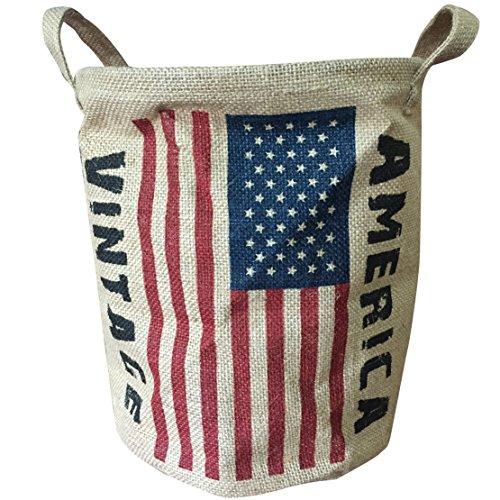 condello casa plegable redondo tejido yute tela de lino Vintage de almacenamiento cesta de basura de soporte organizador cubo cesta para estanterías armario de baño con asas bandera,America