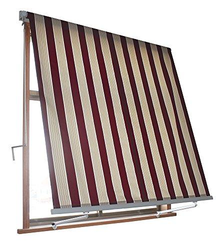 VERDELOOK Tenda da Sole Milos a Caduta avvolgibile con Braccetti 80cm per ancoraggio, larghezza 3m e altezza 2,45m, colore beige e bordeaux