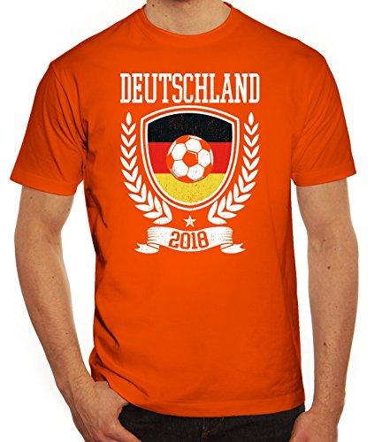 Germany Fußball WM Fanfest Gruppen Fan Herren Männer T-Shirt Rundhals Pokal Deutschland 2018, Größe: XL,Orange