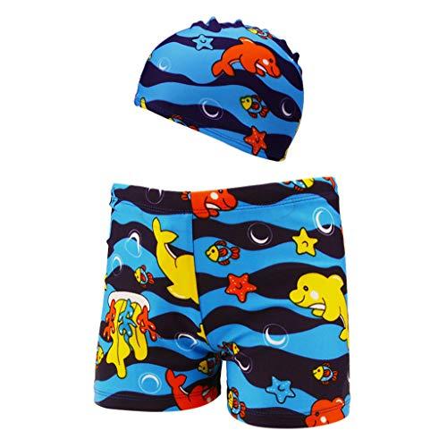 sunnymi  2PC Baby Jungen Shorts + Hut Set, 2-6 Jahre Kinder Stretch Strand Badeanzug Bademode Badehose