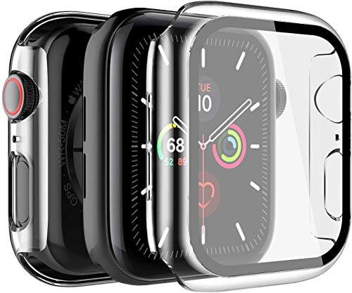 LK Funda Compatible con Apple Watch 42mm Series 3/2/1 Protector de Pantalla [2 Pack] [PC Funda] Cristal Vidrio Templado Compatible con iWatch 42mm- Transparente