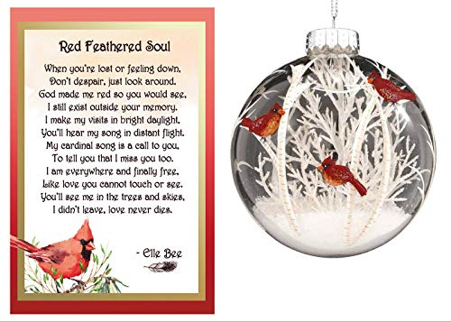 Lola Bella Gifts and Bronner's Cardinal Ornament and Red Feathered Soul Poem Memorial Gift Set and Gift Box