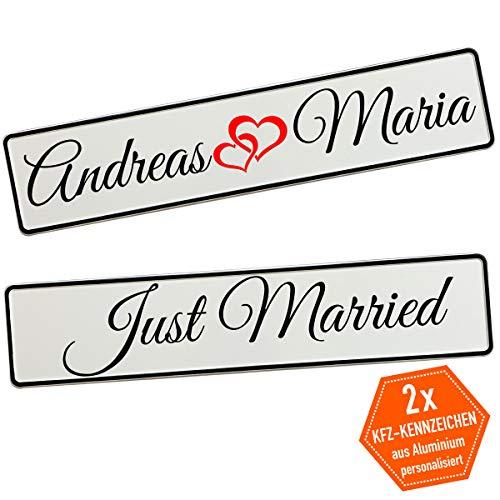 Kennzeichen Hochzeit mit Namen Deko Hochzeitsauto Hochzeitskennzeichen selbst gestalten Motiv Love