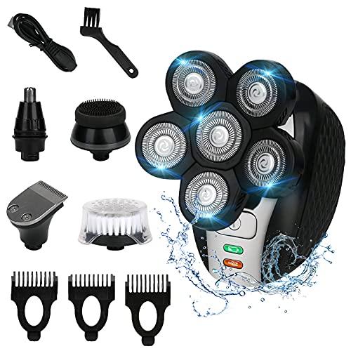 Maquinilla de afeitar eléctrica para hombre Achort 5 en 1 Maquina De Afeitar Calva Recortadora Barba Recortador de nariz, IPX6 Impermeable sin Cable Pantalla LED USB Recargable para Hombres