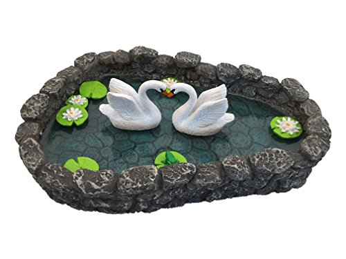 GlitZGlam Swan Miniature Pond - Love is in The air! A Miniature Swan Lake for a Miniature Fairy Garden and Miniature Garden Accessories