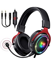 ONIKUMA Gaming Headset -Xbox One Headset PS5 Headset with 7.1 Surround Sound Pro Noise Canceling Gaming Headphones with Mic & RGB LED Light Compatible with PC, PS4,PS5, Xbox One(Adapters Not Included)