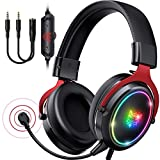ONIKUMA Cascos Gaming Cascos ps4 - Auriculares Gaming con Cicrofono Extraíble con Luz RGB con Cable 7.1 Sonido Envolvente Cascos Gamer para ps4 ps5 Xbox PC Mac (Rojo)