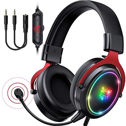 ONIKUMA Gaming Headset Xbox Headset - PS4 Headset mit abnehmbarem Mikrofon RGB Licht Gaming kopfhörer 7.1 Surround Sound Kompatibel mit PS4 PS5 Xbox One PC (rot)
