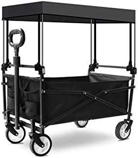 Folding Wagon Trolley Cart, Portable Garden Cart with 4 Wheels, Removable Canopy, Collapsible Garden Cart Pull Wagon Hand ...