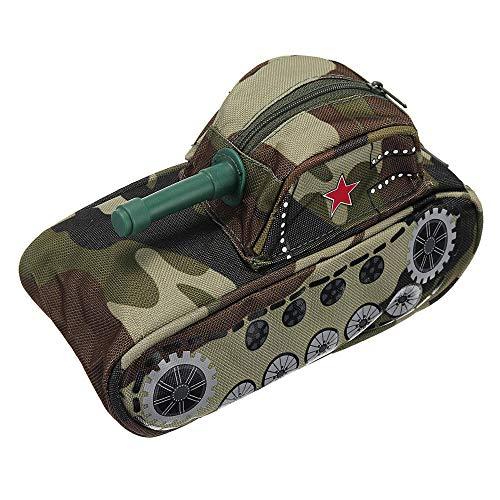 Estuche de lápices con forma de tanque de gran capacidad para estudiantes, papelería, bolsa de almacenamiento, adecuado para diferentes personas, Verde militar (Verde) - A48905HJBG2