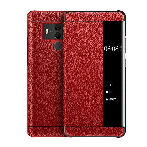 """UKDANDANWEI Huawei Mate 10 PRO Custodia,PC Paraurti con Finestra Intelligente Sottile Flip Vera Pelle Assorbimento degli Urti Anti-Caduta Custodia per Huawei Mate 10 PRO 6.0"""" - Rosso"""