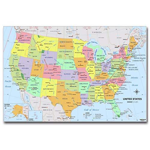 De kaart van de VS Onderwijs Pop Zijde Kunst Poster Top Stof Print Home Muurdecoratie Print op Canvas Decoratie in Huis -60x90cm Geen Frame
