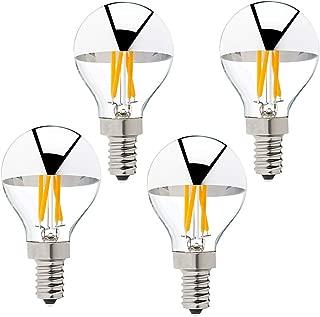 G45 G14 4W Silver Tipped LED Filament Globe Bulb E12 Half Chrome Candelabra LED Bulb 40 Watt Equivalent 2700K Warm White Dimmable Edison Bulb, 4Pack