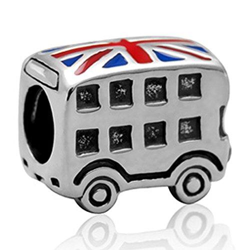 Autobús encanto 925plata de ley Londres encanto con encanto de bandera de Reino Unido colgante encanto de viaje para DIY pulsera de abalorios