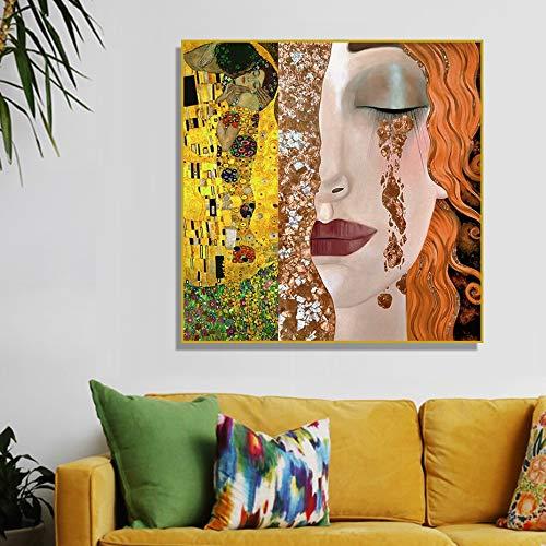N / A Gustav Klimt Golden Tears and Kiss Girl Pinturas sobre Lienzo Realismo Poster Print Wall Art Graffiti Giclee Obra de Arte Decoración de la Pared Sin Marco 60x60cm