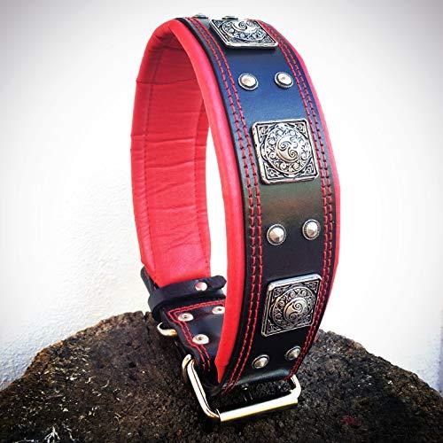 """Bestia™ """"Eros Echtleder Hundehalsband für große Hunde. 100% Leder. Weich gepolstert. 6,3 cm breit. Einzigartiges Design und Qualität. Cane Corso, Rottweiler, Dogo. Handgefertigt in der EU!"""